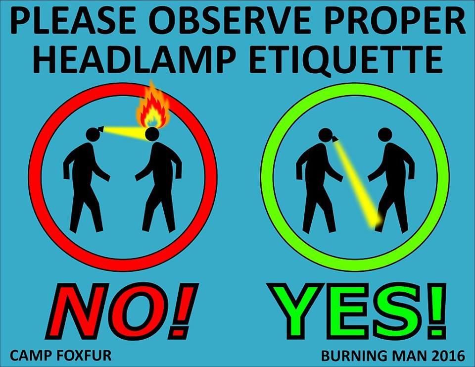 Headlamp Etiquitte